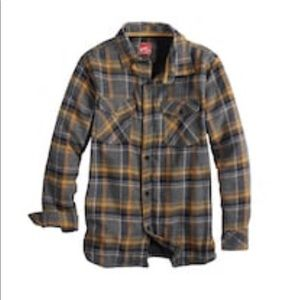 Gray Yellow Checkered Lined Flannel Shirt sz 14/16